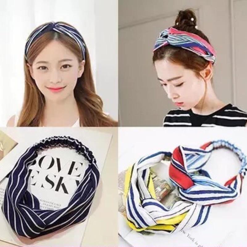 韓國甜美氣質交叉條紋格子髮帶髮箍髮飾