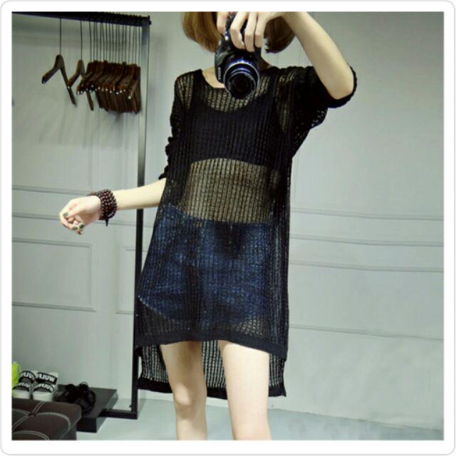 黑色 1 ,你訂購我 出貨~cloth ❤克蘿絲~中長款性感鏤空針織罩衫