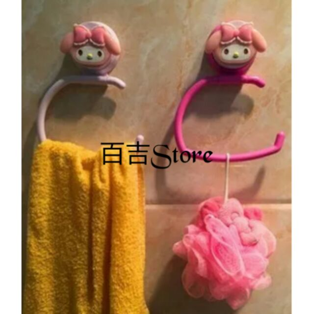 ♡ ♡Melody 美樂蒂kitty 凱蒂貓強力吸盤毛巾架衛生紙捲紙架 於玻璃瓷磚浴室廚房