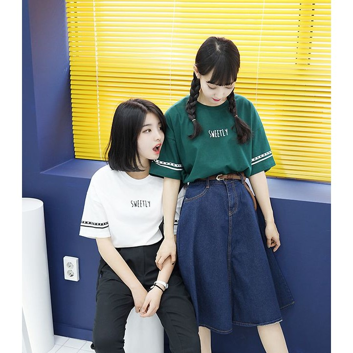 楦巷亦宅春夏學院風字母印花短袖T 恤上衣UL129
