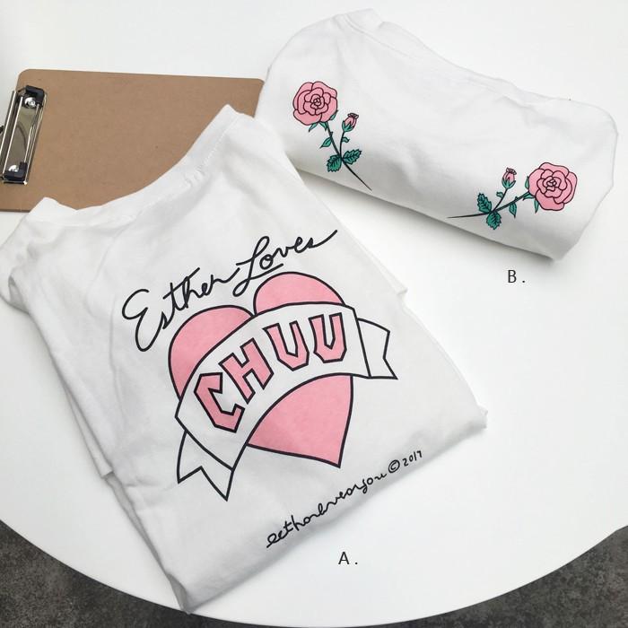 【 】實拍 韓系百搭寬鬆撞色原宿印花後背玫瑰兔子愛心口袋棉T 恤