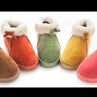 零碼 糖果色蝴蝶結反摺毛邊鋪毛雪靴雪靴靴子平底蝴蝶結保暖短靴馬靴低筒毛靴