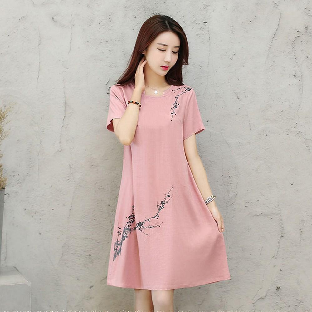 日系寬松花朵學院風短袖棉麻洋裝A 字款顯瘦洋裝正韓洋裝中長款洋裝