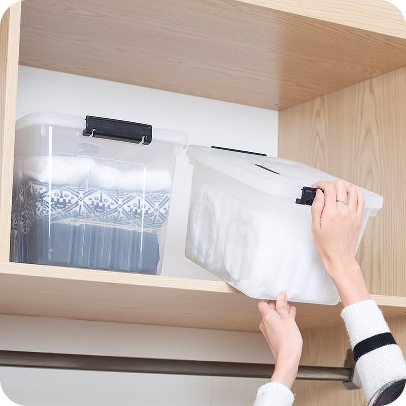 賣場滿199 發貨加厚透明塑料衣物收納箱整理箱食物密封防潮儲物箱宜家有蓋玩具箱