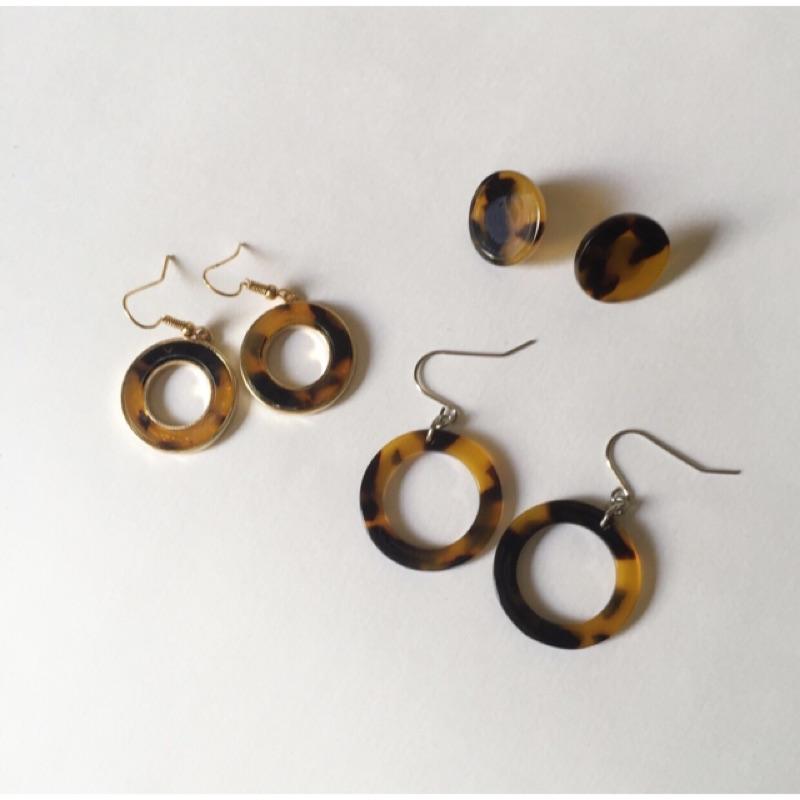 A 2 美麗琥珀色不鏽鋼耳環耳夾耳針