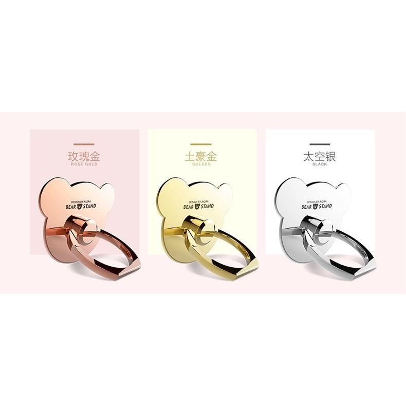 ~小熊金屬指環支架~360 °旋轉金屬電鍍指環支架非塑料