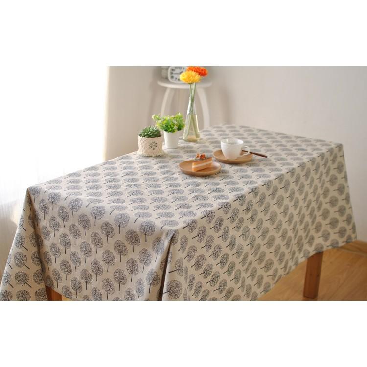 日式簡約文藝清新植物印花棉麻茶几桌布