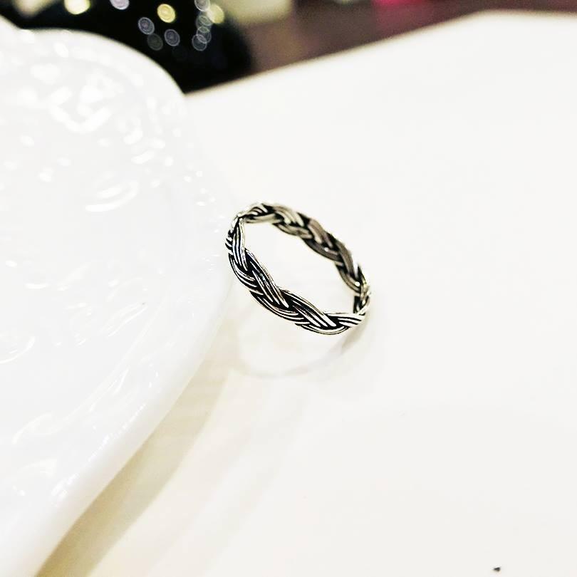 [925純銀]編織麻花戒指情侶對戒 款百搭不退色仿舊抗過敏