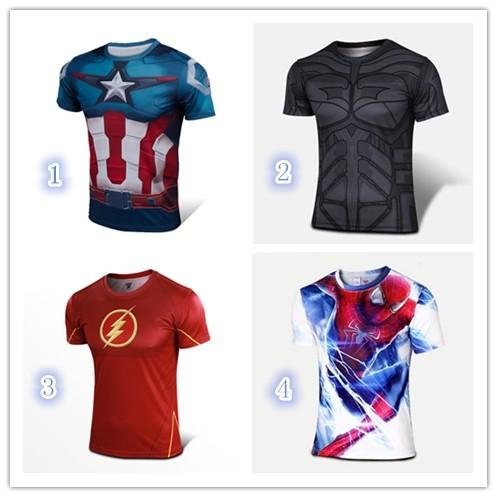 復仇者聯盟美國隊長鋼鐵人蜘蛛人超人緊身衣印花短T 情侶短T 男女修身 短T 健身短T 舒適