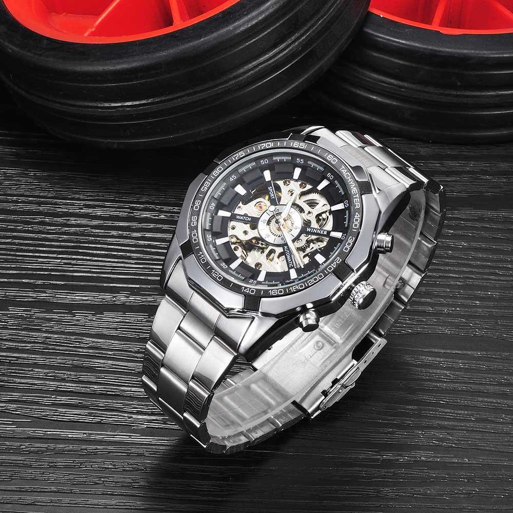 ~ 折扣~WINNER 男士 鏤空鋼帶自動機芯機械手錶腕錶