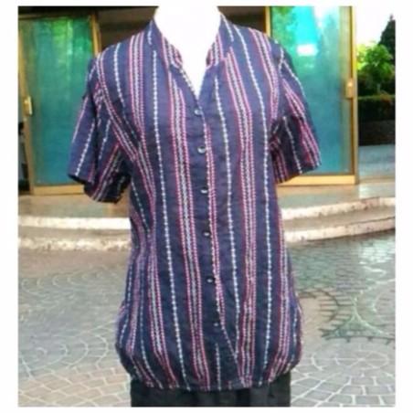 立領顯瘦紅白直條紋短袖襯衫,下束腰鬆緊帶,寬鬆棉紗布~