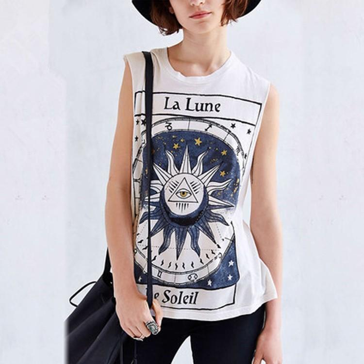 女裝圓領無袖印花襯衫寬鬆T 恤酷