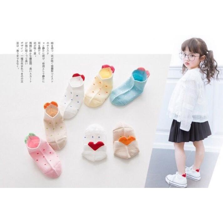 korea 韓組清新點點愛心襪五雙組兒童襪春夏襪可愛襪卡通襪冰雪佩佩豬公主星星