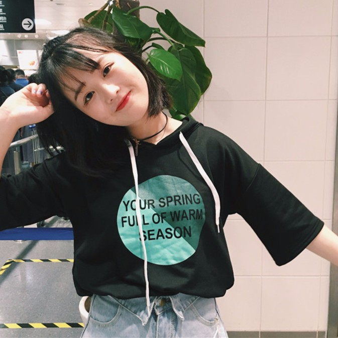 正韓女生短袖上衣百搭 原宿風清新字母印花抽繩連帽 學生短袖T 恤