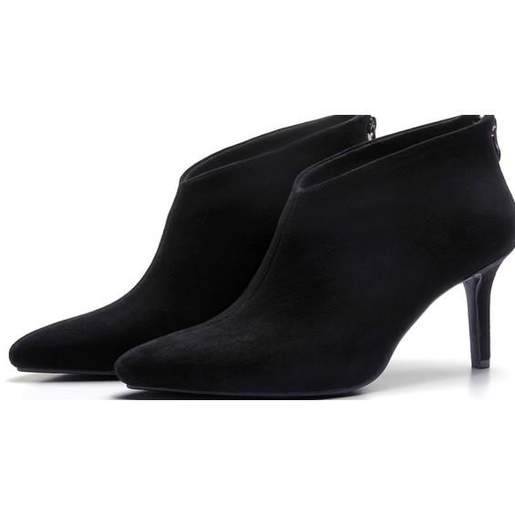 203 008 尖頭高跟馬丁靴短靴細跟短靴裸靴短筒靴黑色35
