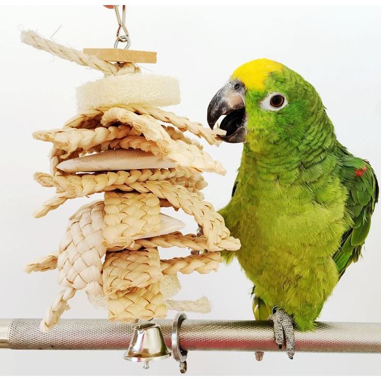 大中小型鸚鵡用品啃咬玩具純天然墨魚骨麻花串長23 寬14cm