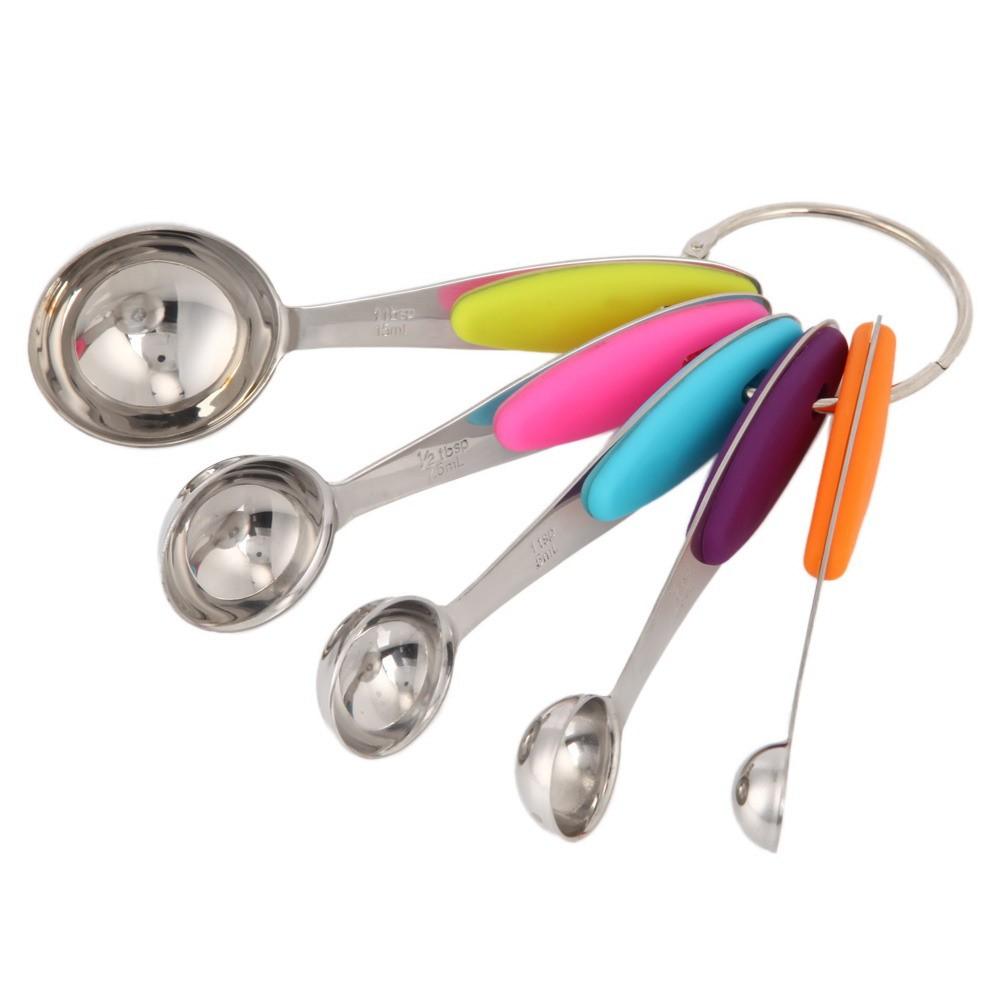 不銹鋼彩色量勺帶刻度5 件套 套裝量匙量勺量杯量秤奶粉勺調味勺帶矽膠隔熱墊1 25 2 5