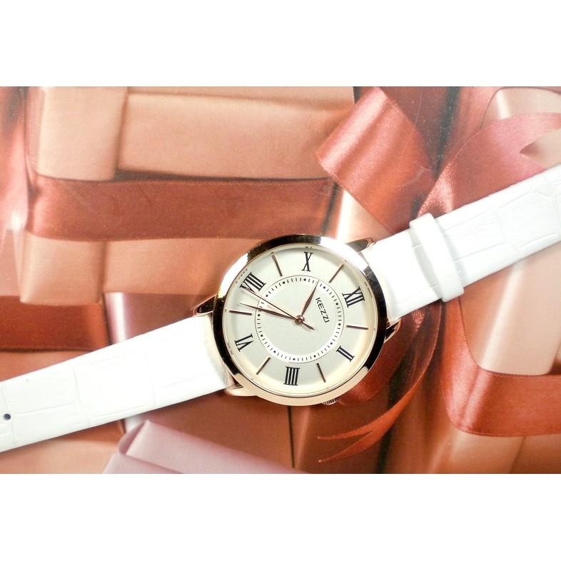 ~KEZZI ~ 簡約風格 機芯壓紋皮帶指針錶雜誌首推型男、女最愛CK 風格素雅大鏡面情侶