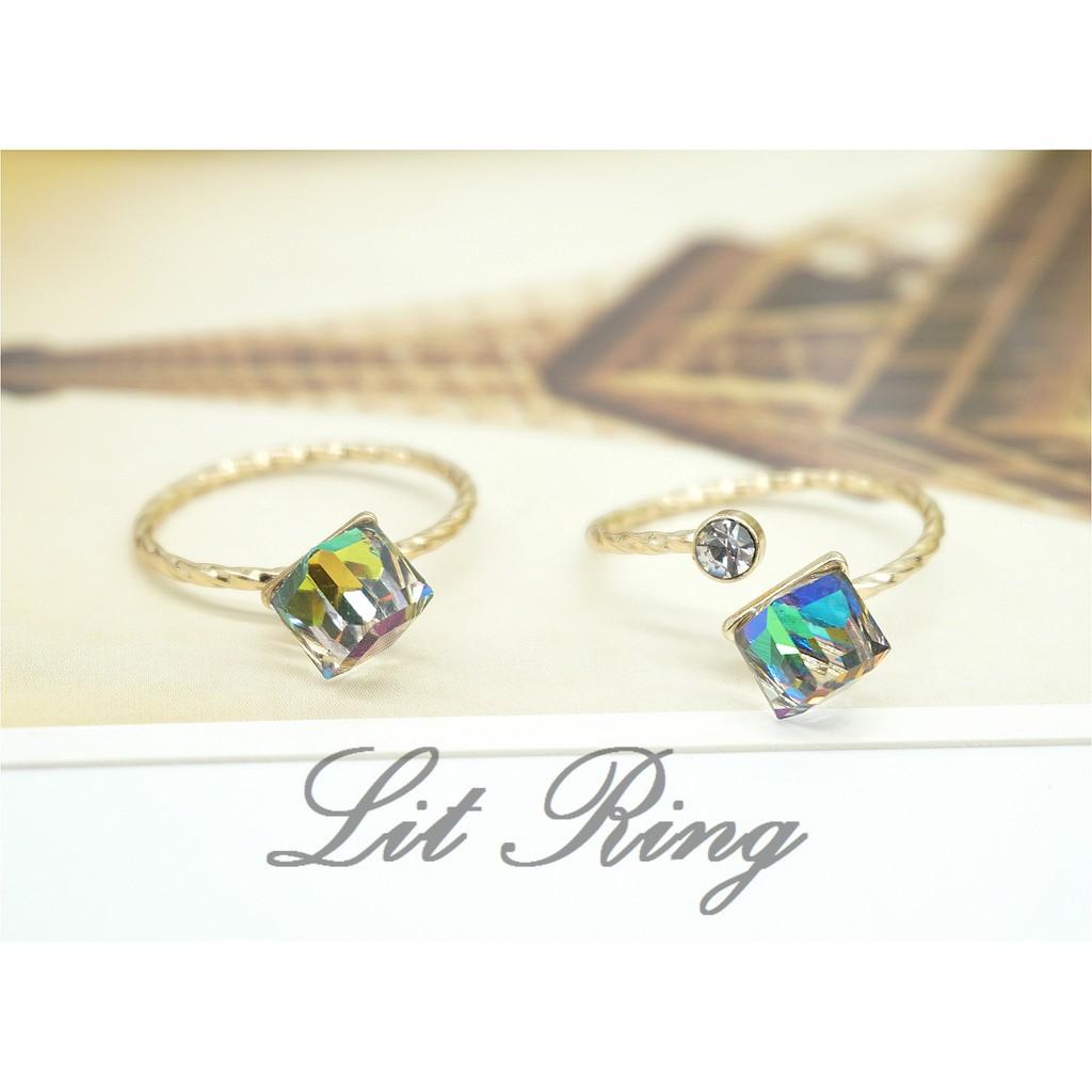 波浪方形幻彩水鑽戒指~金色透明變彩彩色方晶水鑽波浪紋戒指細戒開口戒指飾品首飾~Lit Ri