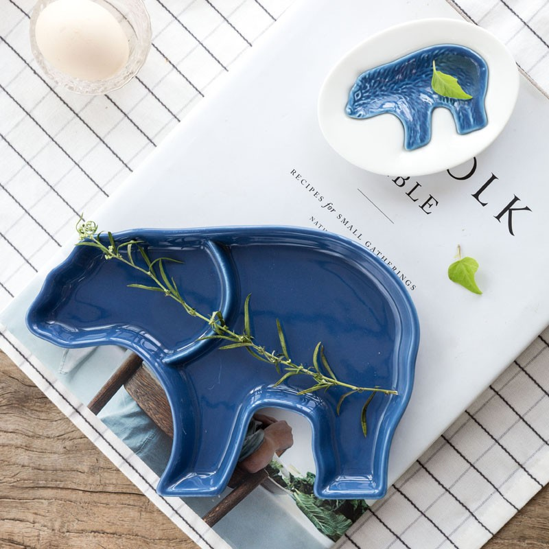 北極熊兒童餐具陶瓷分隔盤醬料碟筷架套組3 件組