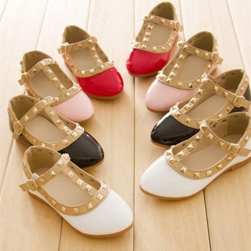 女孩露腳趾鉚釘T 帶鞋涼鞋休閒女鞋