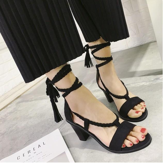 波西米亞涼鞋 羅馬流蘇露趾粗跟絨面綁帶高跟鞋 有限
