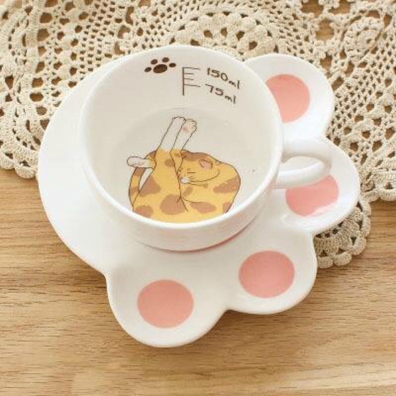 ~扭扭貓咪~肉球咖啡杯盤組黃底褐斑Z017