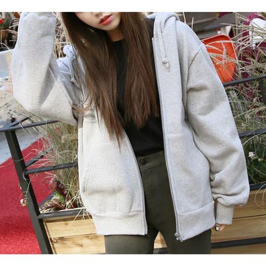 外套~6614 ~ 純色寬鬆加絨連帽拉鏈衛衣學院風BF 棒球服休閒簡約長袖夾克外套開衫連帽