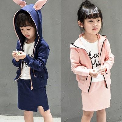 ღ瑪琪朵小舖ღ2016  日系女童可愛超萌動物小兔子耳朵外套短裙套裝 532