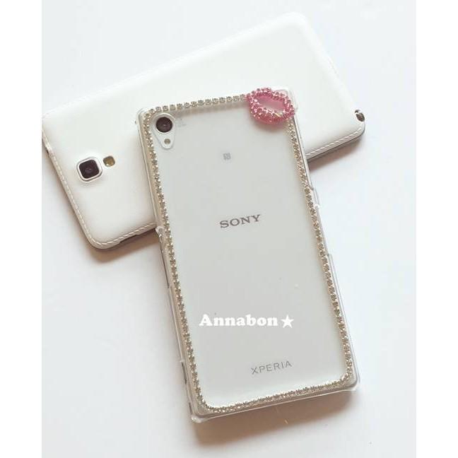 ~Annabon ~嘴巴桃紅粉紅銀色鏈子水鑽iphone7 iphone7plus 貼鑽手