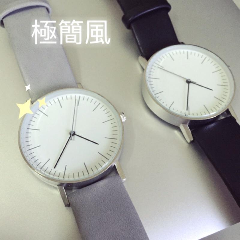 稀有牛奶灰北歐風muji 極簡手錶英倫簡約韓國日系原宿風 潮流素面大錶盤休閒簡約對錶女錶學