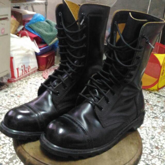 憲兵軍用十孔皮鞋軍靴甲鞋馬丁鞋3 號
