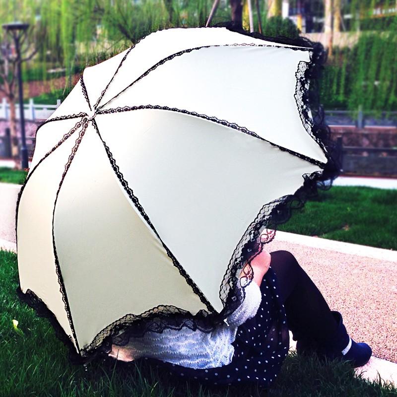 清新太陽傘蕾絲女公主防紫外線防曬黑膠遮陽傘 折疊晴雨傘兩用