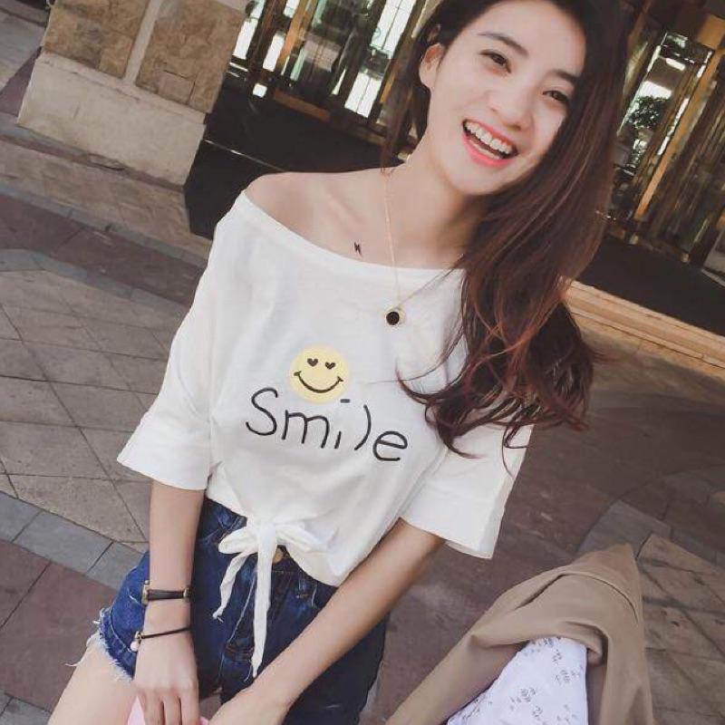 艷微笑臉smile 短袖t 恤綁帶高腰露肚臍露肩斜肩短版簡約女學生百搭顯瘦小清新素色 價學