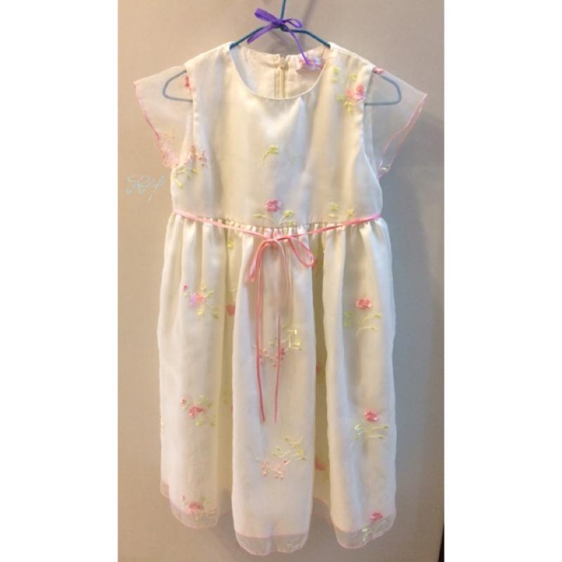 anny princess 安妮公主專櫃品牌夢幻甜美刺繡緞面接網紗短袖洋裝花童畢業典禮蓬裙