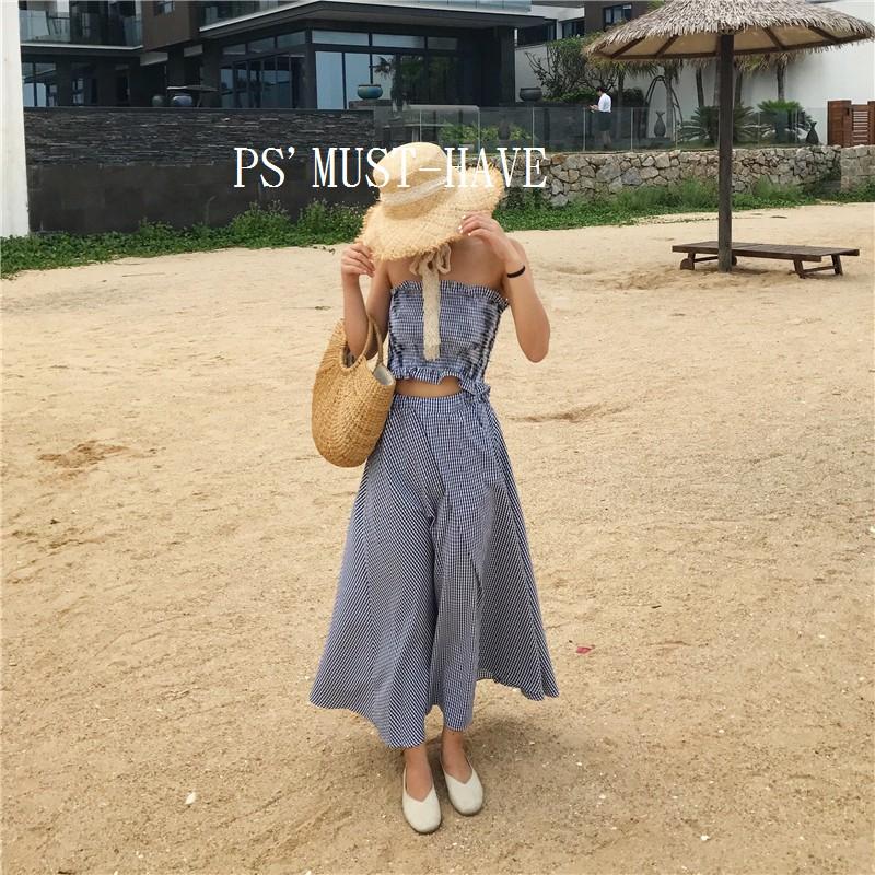FD15036 海灘沙灘度假風 格紋長洋裝兩件套套裝(黑格)