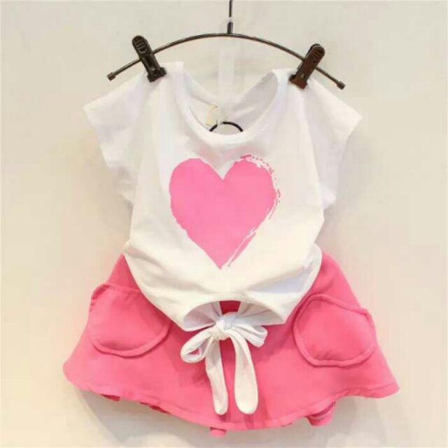 2016 夏裝 可愛愛心繫帶短袖T 恤百搭短裙兒童兩件式套裝