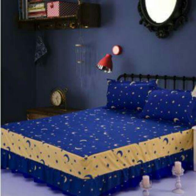印花磨毛床上用品床裙床罩素色雙拼單件床單床頭床罩單人雙人