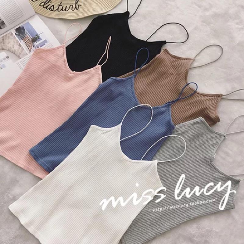 2016 東大門✨新品 修身顯瘦純色V 領針織吊帶背心女性感打底衫上衣