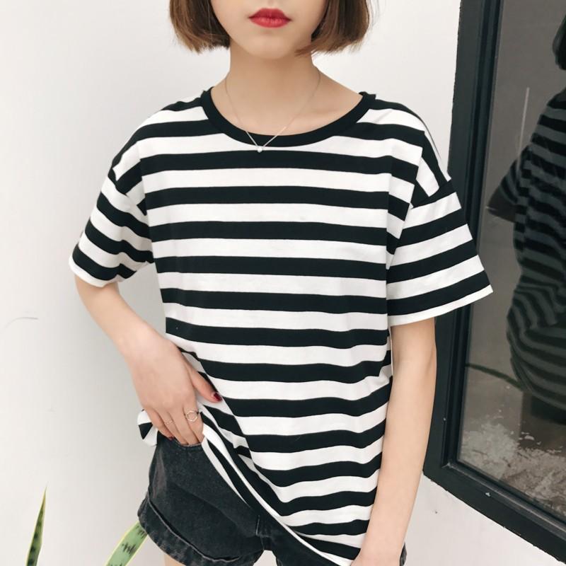 MOMO 條紋短袖T 恤實拍  寬鬆大碼 潮流百搭修身顯瘦學生女生衣著洋裝連身裙短袖襯衫T