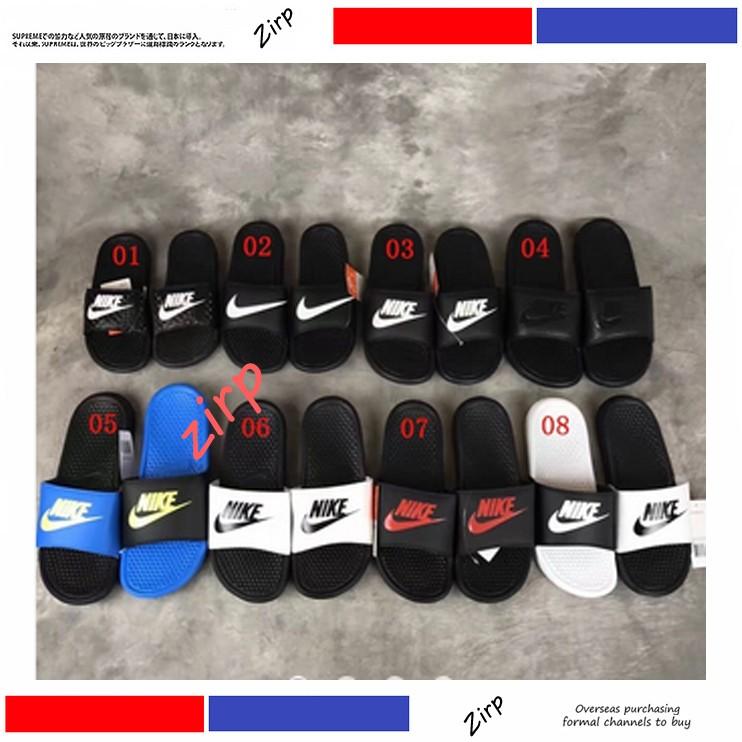 耐克Nike BENASSI JDI GD 字母大小logo 勾勾黑白鴛鴦陰陽情侶拖鞋 休