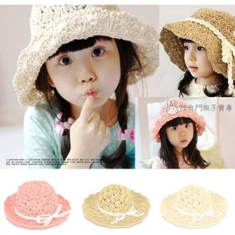 ~CA014 ~小孩款夏日 款~氣質女孩草編花紋蕾絲遮陽草帽