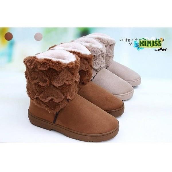 仿麂皮雙層愛心雪靴短靴絨毛雪地保暖靴kiwi 小舖~KG005 ~