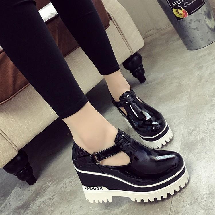 2016 春秋 英倫風女鞋圓頭松糕跟高跟鞋系帶粗跟鞋厚底女單鞋