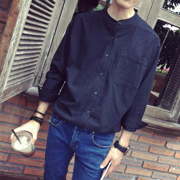 韓青少年潮牌港仔文藝棉麻亞麻寬松立領男士白襯衫純色襯衫寸衫潮