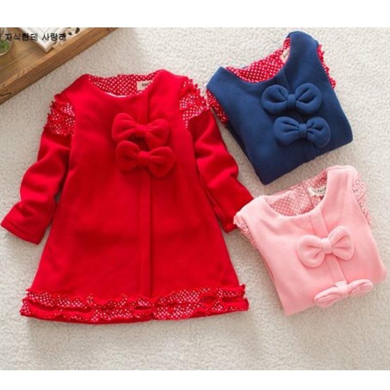 過年新春寶寶可愛蝴蝶結長上衣洋裝內抓絨