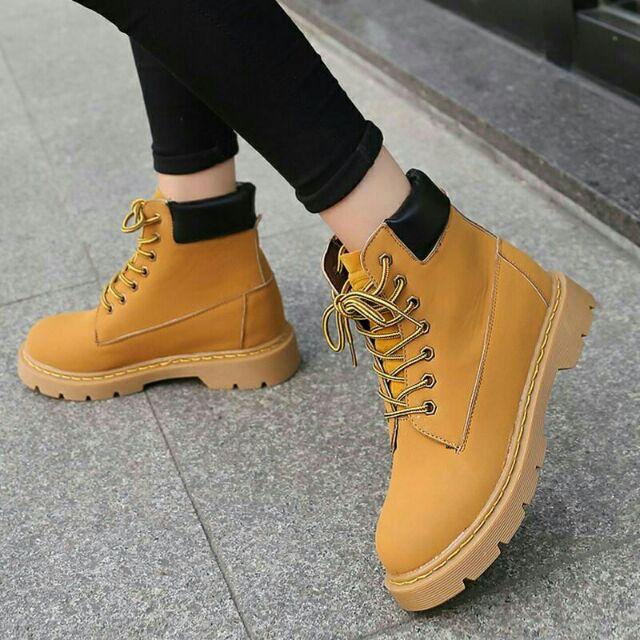 馬丁靴軍靴高幫短靴中筒靴黃色登山靴
