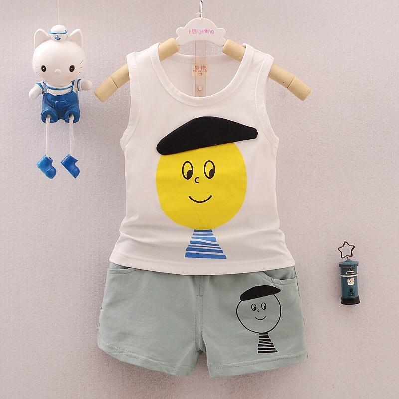套裝無袖小黃背心短褲休閒 幼童男童女童春裝夏裝70 110 1 6 歲