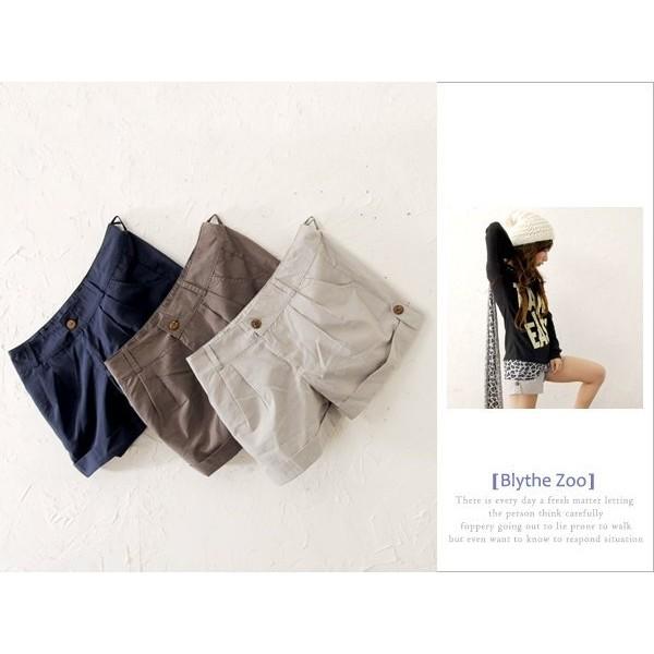 春夏款打造LENA ˙百慕達休閒反摺短褲藍色M 反折短褲休閒褲棉麻褲