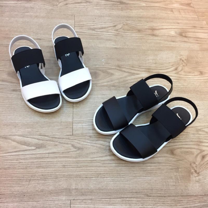 百搭簡約有型❤️MIT 寬版撞色鬆緊 平底涼鞋